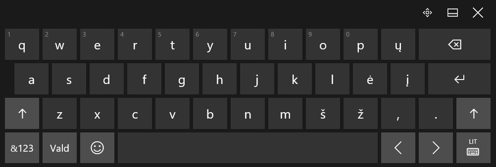 """""""Windows 10"""" jutiklinė klaviatūra su gamykliniu lietuvišku išdėstymu"""